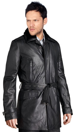 Lambskin Leather Coat with Sleeve Detail