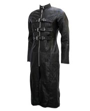 Mens Leather Coat with Zippered Collar and Three Front Back Belts