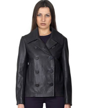 Chic Box-Cut pea Leather Coat for Women