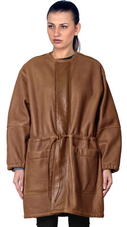 Khaki Patterned Parka Leather Coat for Women