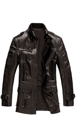 Fashionable and Hippie Leather Mens Coat