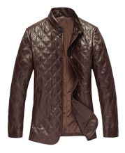 Quilted Classic Mens Leather Coat