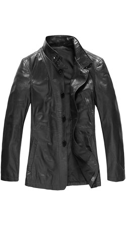 Sparkling True Fit Leather Mens Coat