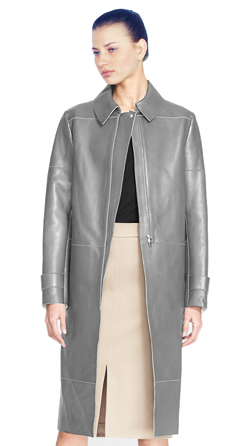 Womens Lambskin Leather Coat with Seam Details and Tabbed Cuffs