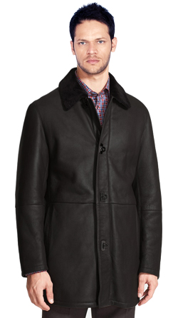 Mens Lambskin Leather Coat with Fur Collar