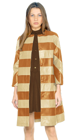 Womens Lambskin Two Tone Coat With Striped Patterns