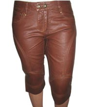 Double Stitched Leather Capri Pant for Women