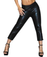 Back Zipped Leather Capri Pants for Women