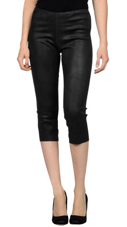 Tight-Fitting Suede Leather Capri Pant for Women