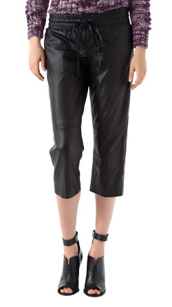 Casual Leather Capri with Drawstring Waist