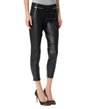 Slim Fit and Trimmed Leather Capri