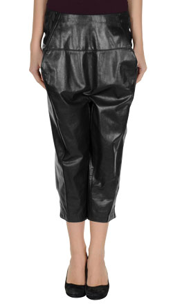 Lustrous Calf Length Leather Capri