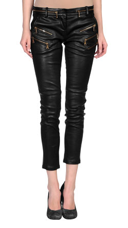 Solid Tapered Cut Leather Capri