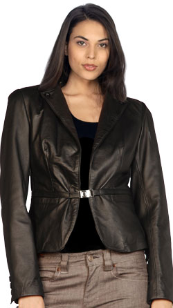 Upscale corporate leather jacket for women