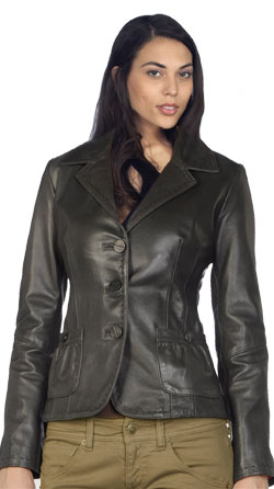 Snug-fit corporate leather jacket for professional women