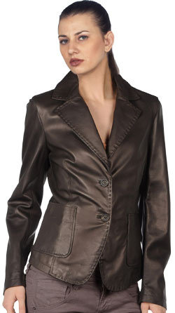Sleek, tight fit corporate leather blazer for women