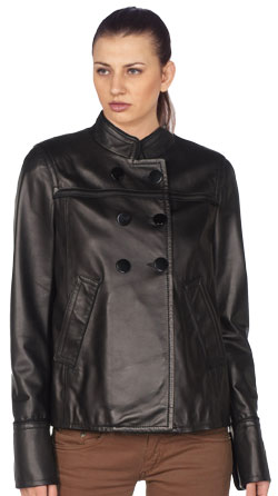 Chinese collared corporate leather blazer for women