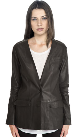 Collarless corporate leather blazer for women