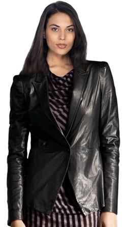 Domineering corporate leather blazer for women