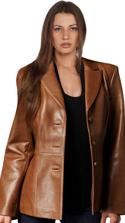 Modernistic corporate leather blazer for women