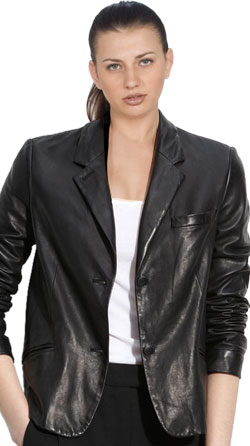 Assertive corporate leather blazer for women