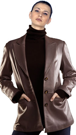 Dynamic corporate leather blazer for women