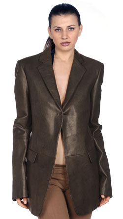 Slinky, notch lapel corporate leather blazer for women
