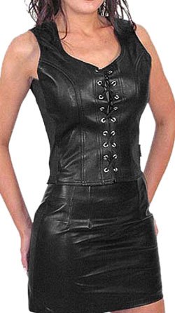 Stunning Back Zipper Leather Corset