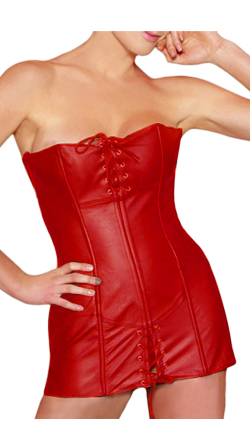 Opulent Leather Corset with Front Lace Opening
