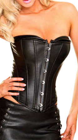 Tube Top Style Crew Neck Leather Corset