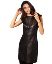 Peek-a-boo Lace Leather Dress for Women