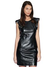 frill-sleeve-womens-leather-dress