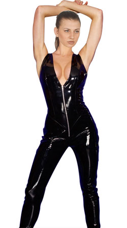 Skinny Leather Jumpsuit with Low Cut Top