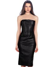 neckline-skin-fit-leather-dress