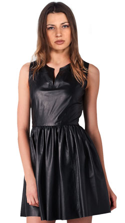 Sleeveless Leather Dress with Secret Zip