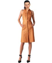 Corporate Elan Collared Leather Dress