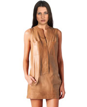 Mini Leather Dress with Four Snap button Closure