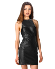 Racer Style T-Neck Little Leather Dress
