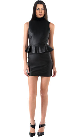 Little Leather Dress with Ribbing Accent at Neckline