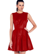 Flared Silhouette Skin Touch Leather Dress
