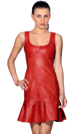 Apple Cut Leather Dress for Women