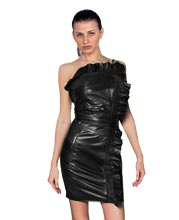 single-strapped-ruffled-detail-leather-dress