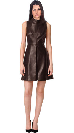 Corporate Style Funnel Neck Leather Dress