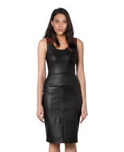 multicolor-and-sleek-sleeveless-leather-dress