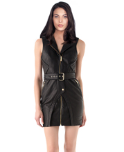 stylish-collared-leather-dress