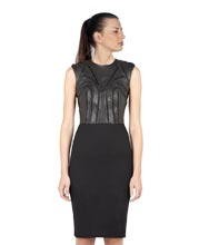 Cool Padded Pencil Leather Dress