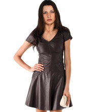 Frilled Contemporary Styled Leather Dress