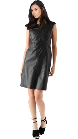 Sober and Playful Leather Dress