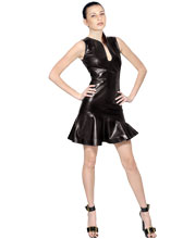 teardrop-neck-and-flared-leather-dress