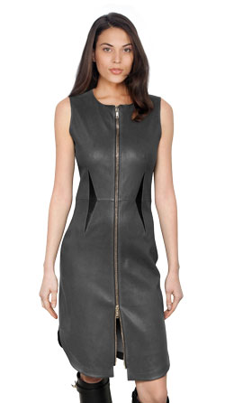 Stretchy and Slender Leather Dress